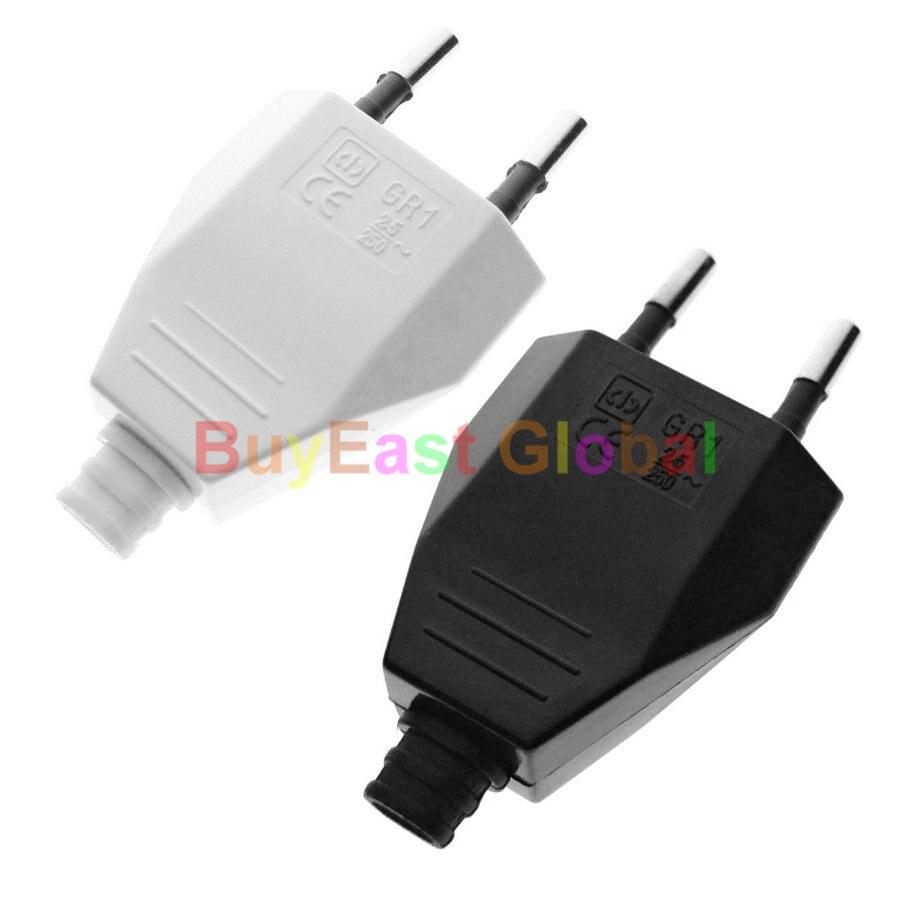 EU Europlug Rewireable DIY Main Power Plug AC 100~250V 2.5A Black / White