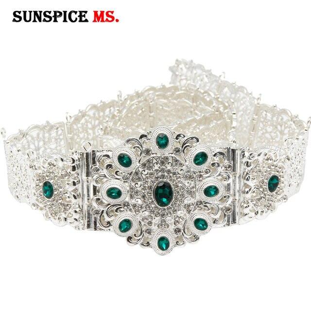 SUNSPICEMS Customiz Frauen Kristall Metall Hochzeit Gürtel Silber Farbe Marokko Taille Kette Spiel Kaftan Kaukasischen Traditionellen Schmuck