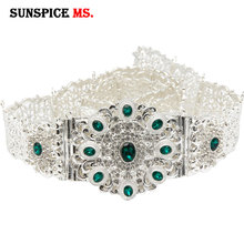 SUNSPICEMS ceinture de mariage personnalisée en cristal, métal argent, chaîne de taille marocaine, assortie, bijoux traditionnels Caftan caucasien