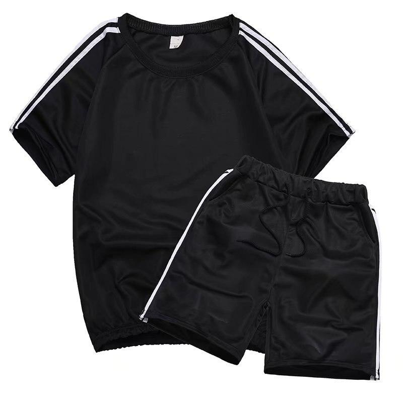 New Style Lively Fella Set Men's Summer Slim Fit Short Sleeve T-shirt Social Person Short Shorts Deft Reds Celebrity Style