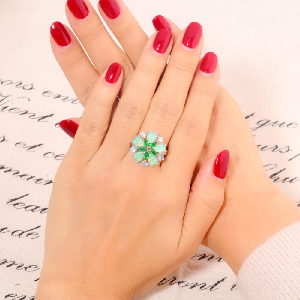 CiNily Mewah Hijau Api Opal Batu Cincin Besar Perak Disepuh Bunga - Perhiasan fesyen - Foto 4