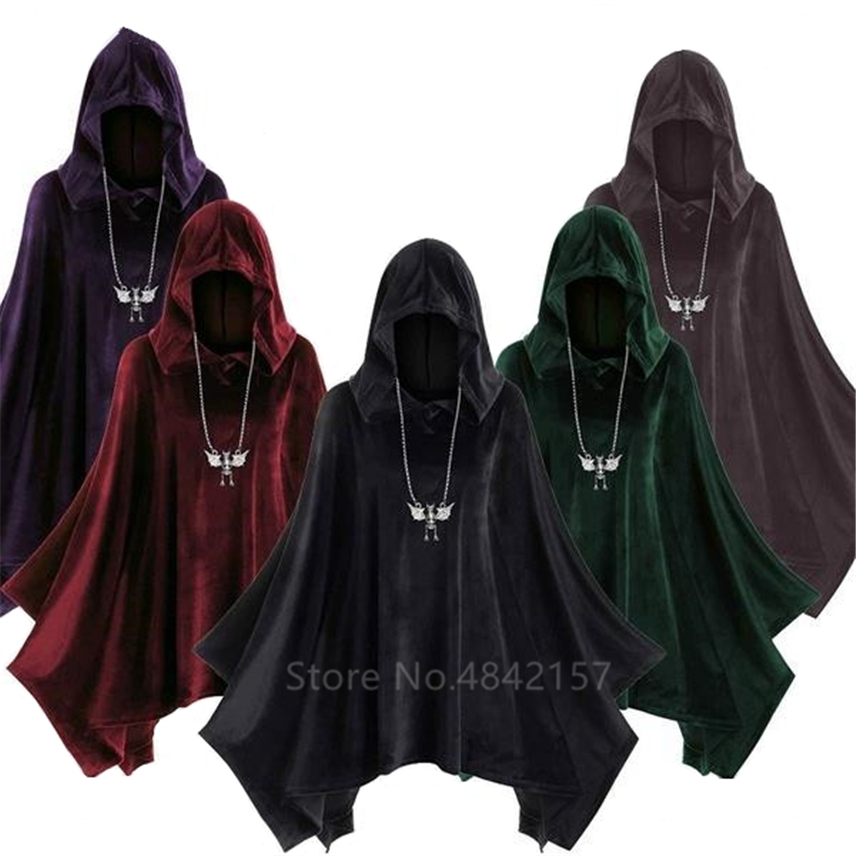Medieval Cosplay Gothic Cloak Halloween Carnival Costumes For Adult Renaissance Middle Ages Carnival Party Witch Hooded Dress