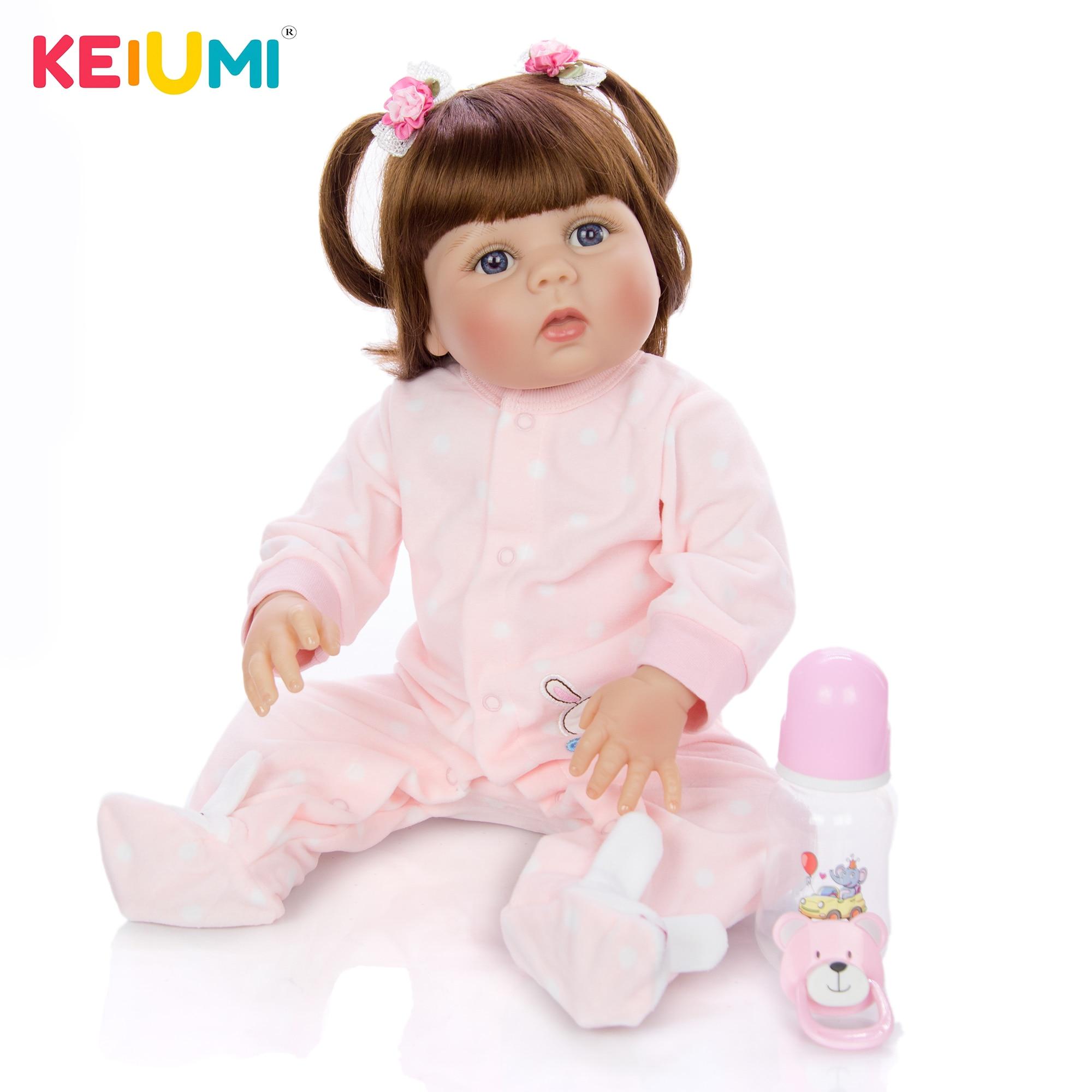 KEIUMI силиконовая кукла для новорожденных 23 дюймов 57 см сюрпризы Boneca Кукла для новорожденных девочек новый стиль волос для детей подарок на Рождество Куклы      АлиЭкспресс