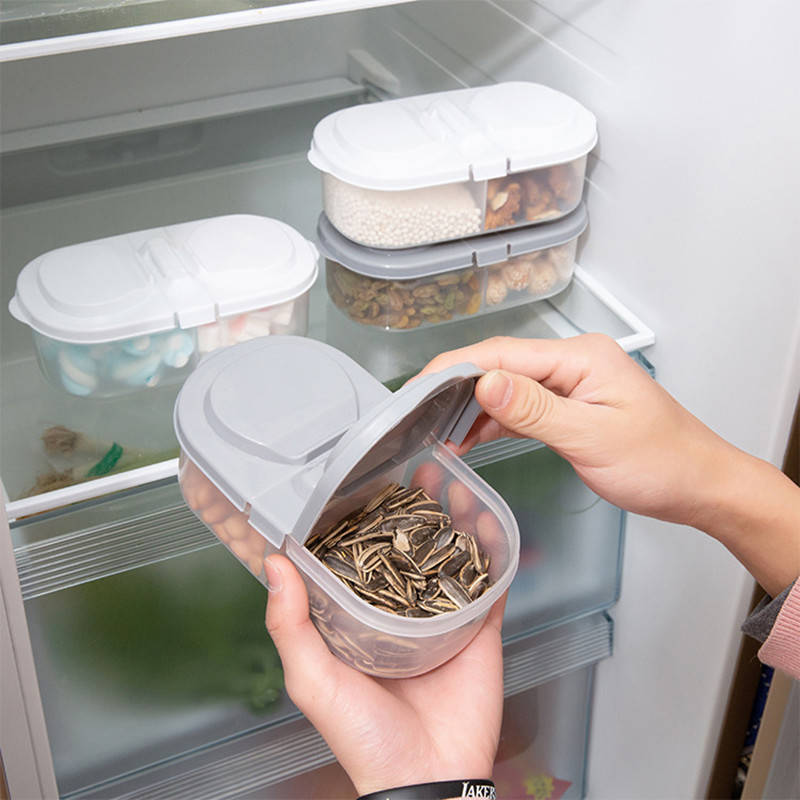 Kitchen Storage Box Refrigerator Transparent Plastic Food Container Organizer Double Grid Sealed Cans For Coarse Cereals Grains