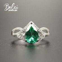 Bolaijewelry 、作成グリーンエメラルドリング 925 スターリングシルバーファインジュエリーためのシンプルなデザインガール女性妻日常着素敵なギフト