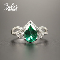 Bolaijewelry,Created green emerald ring 925 sterling silver fine jewelry simple design for girl women wife daily wear nice gift