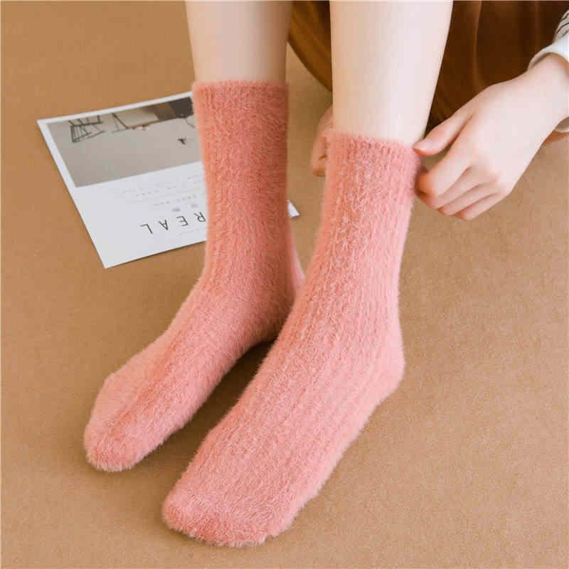 KingDeng אישה חורף להתחמם כותנה Sheer גרבי יוניסקס אמנות אסתטי מוצק צבע מצויצות גרביים קוריאני סגנון אופנה עיצוב