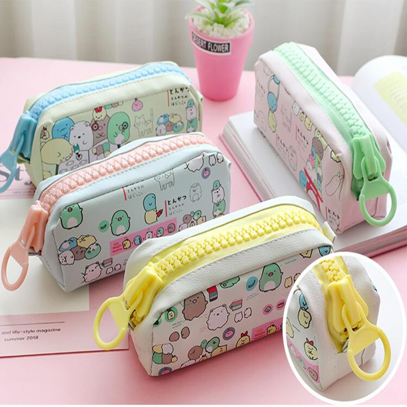 Fashion PU Leather Pencil Case Korean Canvas Cute Kawaii Pen Bag Big Capacity Pencil Pouch School Stationery Gift