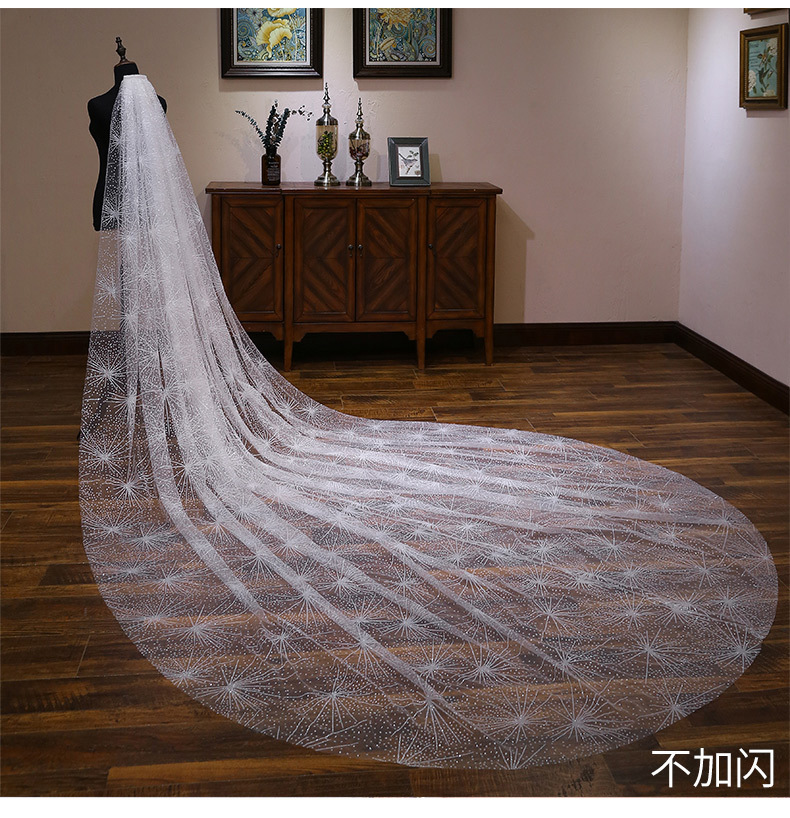 Bride Wedding Veil Wedding Long Section White Polaris Trailing Long Bride Wedding Veil Accessories TS264 - 4