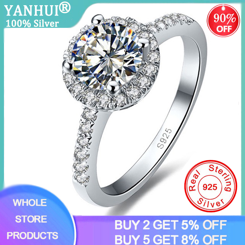 YANHUI Real Solid 925 Sterling Silver Ring Four Claws 2ct Lab Diamond Wedding Engagement Rings For Women Fine Jewelry Gift JZ009
