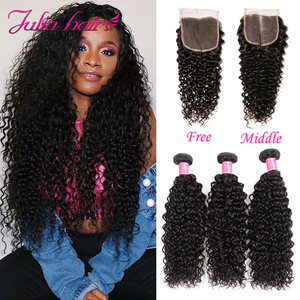 Image 3 - Malaysian Curly Hair Bundles With Closure Pre Plucked Hairline Remy Human Hair Bundles With Closure Julia 3 Bundles With Closure