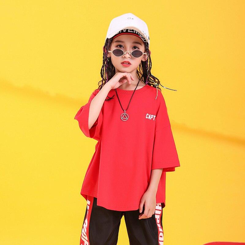 Детская одежда в стиле хип-хоп свободная футболка большого размера повседневные штаны для девочек и мальчиков, одежда для джазовых танцев костюмы, одежда для бальных танцев - Color: red top