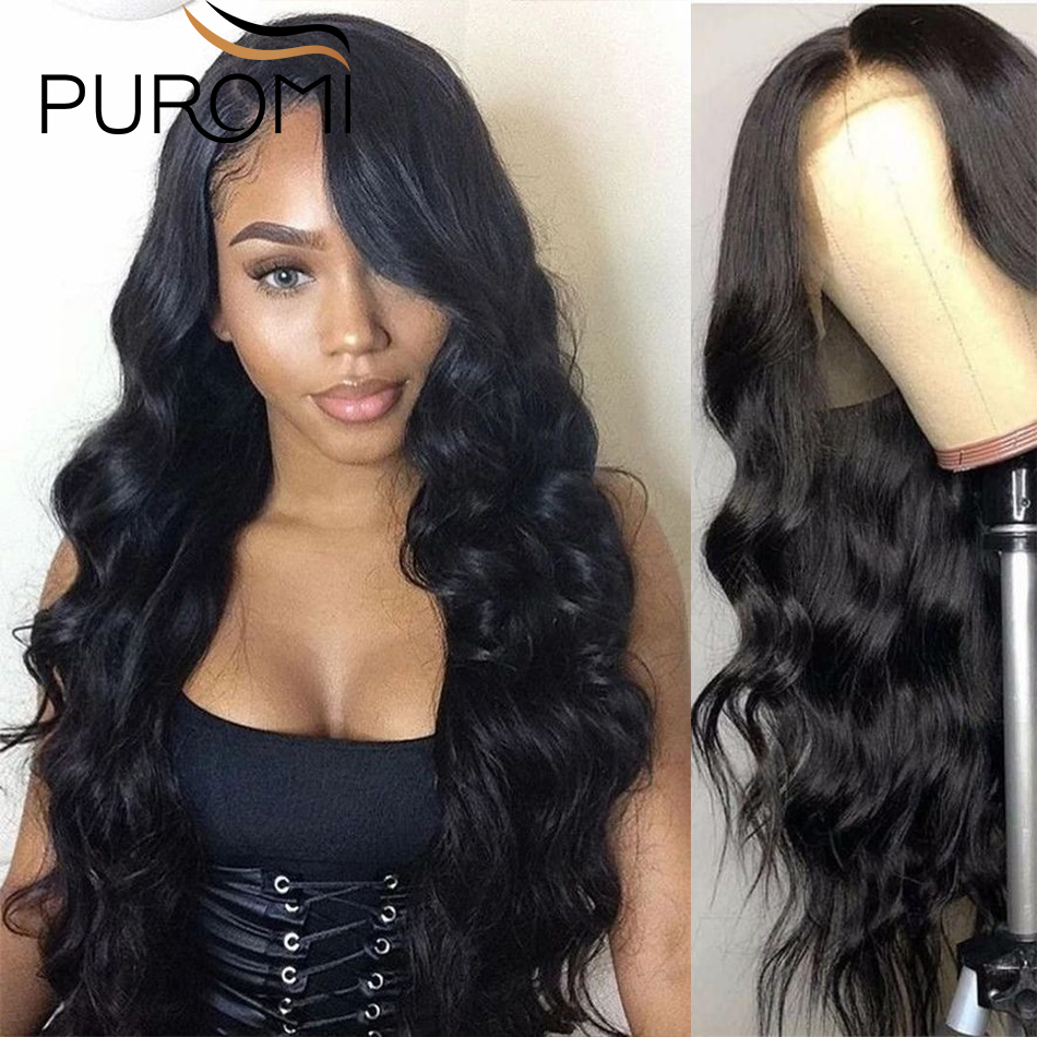 Puromi 13X4 Lace Front Human Hair Wigs Brazilian Body Wave Remy Human Hair Wigs Lace Front Wig With Baby Hair For Black Women