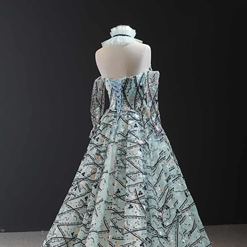 J66959 jancember אונליין שמלת ערב עם שרוולי detechable סטרפלס דפוס מסיבת שמלה עם צווארון שרשרת платье длинное