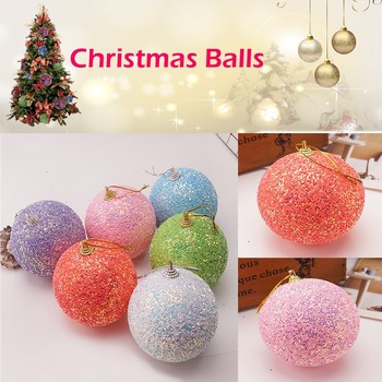 1Pc 8cm Gold Pink Champagne Red Metallic Christmas Balls Decor Christmas Tree Balls Xmas Decor for Home New Year Gift navidad image