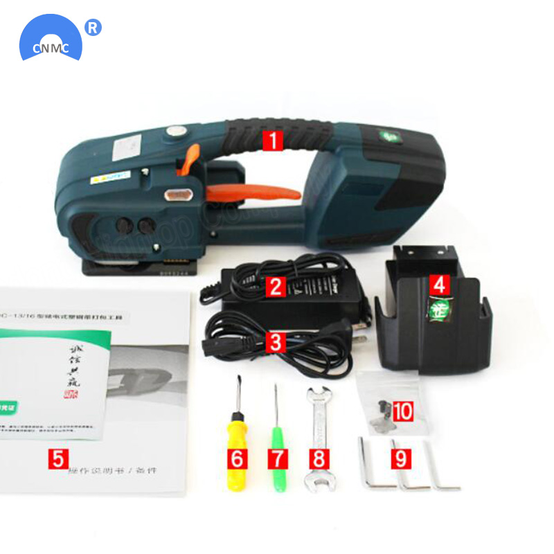 JDC 13 мм-16 мм PET PP пластиковые обвязочные станки Питание от батареи 4.0A/12 В батарея ремень машина с 2 батареями