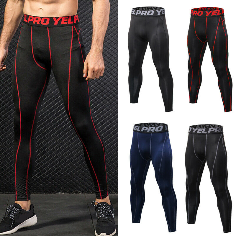 Men/'s Sports Compression Base Layer Pants Quick Dry Leggings Running Gym Workout
