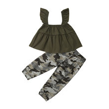 1-6T Toddler Kids Baby Girl Casual Cotton Ruffle Sleeveless Tank Crop Tops Camouflage Pants Leggings 2Pcs Outfits Clothes Sets(China)
