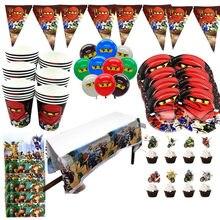Fontes de festa 137 pçs para 20 crianças ninja tema festa aniversário decoração conjunto louça, placa + copo palha bandeira
