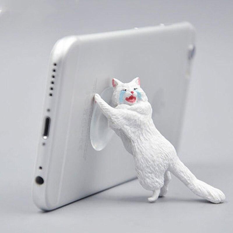 Cute Cat Phone Holder Tablets Desk Sucker Support Resin Mobile Phone Stand Holder Sucker Design Animal Holder For Smartphone