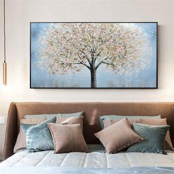 New handmade Modern Canvas on Oil Painting Palette knife Tree 3D Flowers Paintings Home living room Decor Wall Art