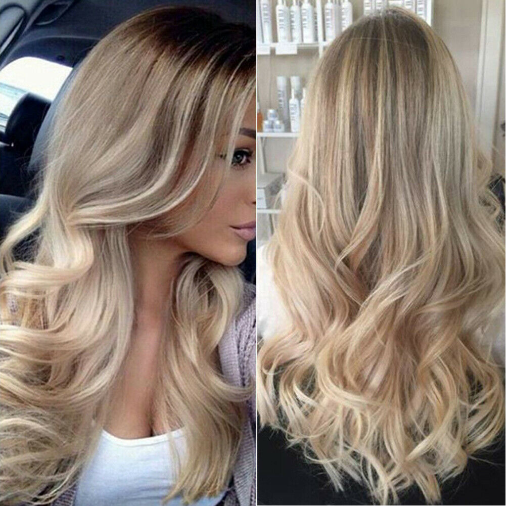2019 New Fashion Sexy Womens Blonde Ombre Long Brown Gold Wavy Curly Headwear Party Cosplay Costume DIY Accessories