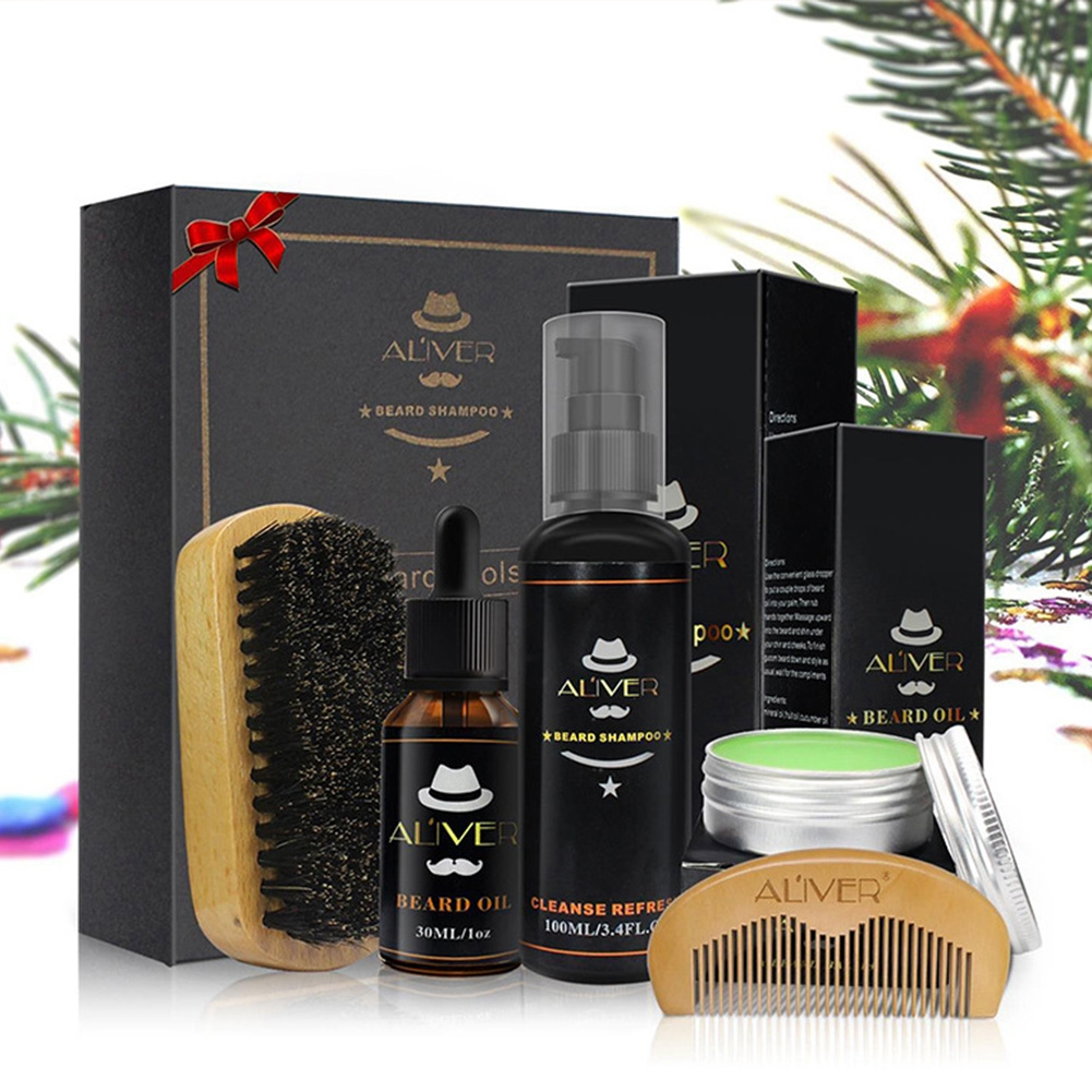 2020 Beard Clean Set With Essential Shampoo Brush Comb Oil Cream For Men Makes Soft Cleanse Refresh And Nature Styling Care Set