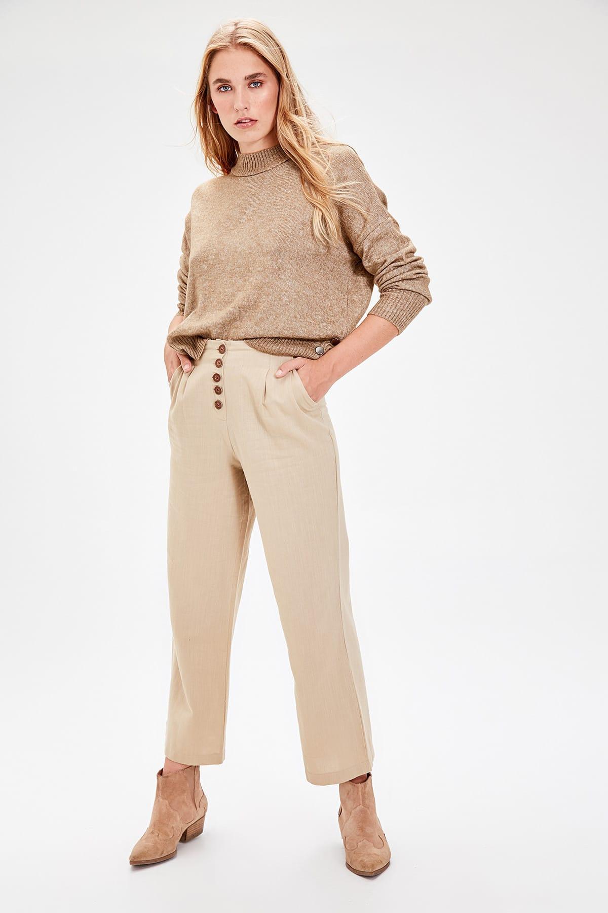 Trendyol Beige Basic Pants TWOAW20PL0114