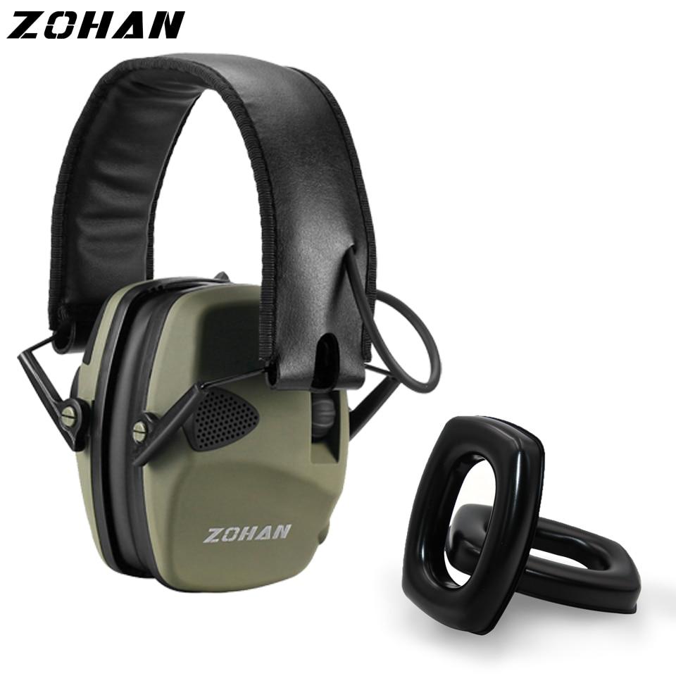 ZOHAN-orejeras electrónicas NRR22DB para caza, protección auditiva para Tiro Táctico y un par de reemplazo de Gel para oreja