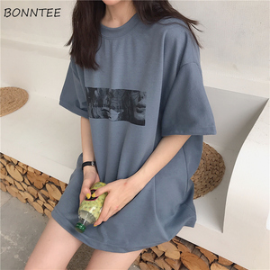 T-shirts Women Printed Korean Style All-match Trendy Simple Womens Daily Short Sleeve High Quality Hot Sale Harajuku 2020 New(China)