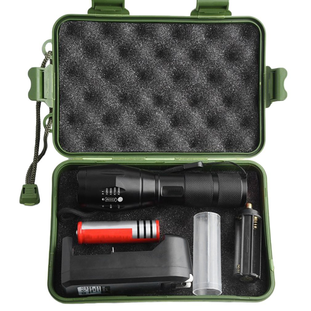 Strong Light Torch T6 800LM Aluminum Waterproof Zoomable LED Flashlight Torch Set For 18650 Rechargeable Battery Or AAA