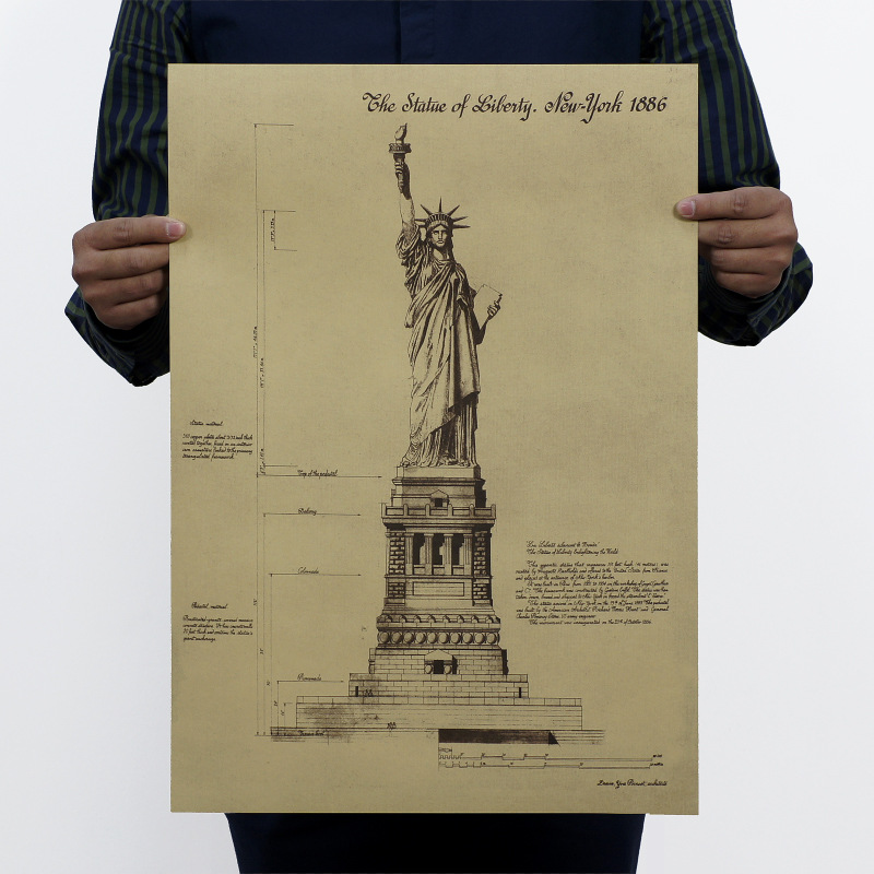 USA Statue Of Liberty Drawing Wall Sticker Kraft Retro Poster Painting Core Map DIY School Garage Art Decoration Vintage Prints