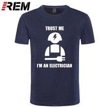 Camisa do homem da camisa do presente do eletricista da luva curta do homem da camiseta