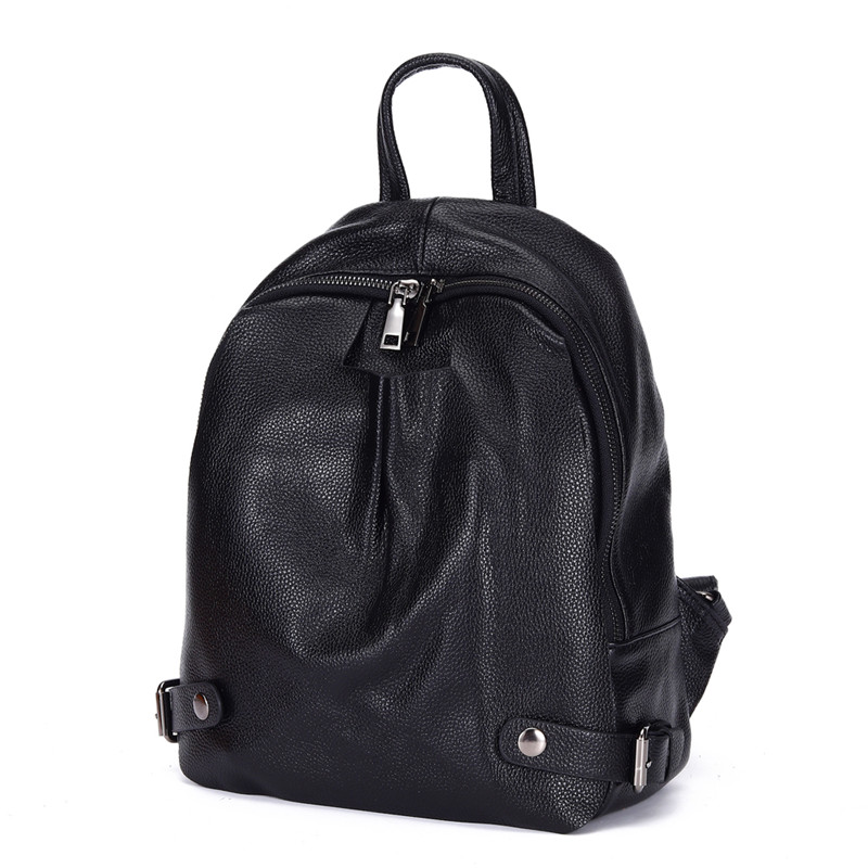 Nesitu Highend New Casual Fashion Black 100% Genuine Leather Women's Backpack For Girl Female Lady Travel Bags M6072