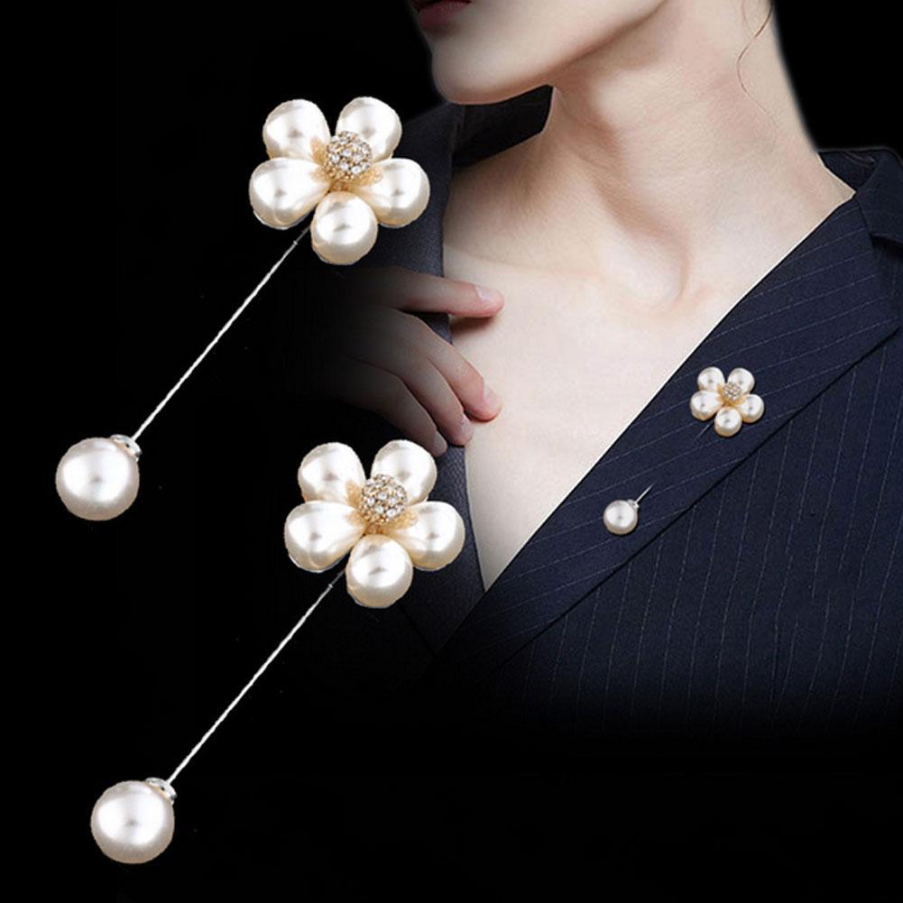 Fashion Faux Pearls Flower Brooch Pin Women Cardigan Sweater Shawl Clip Jewelry