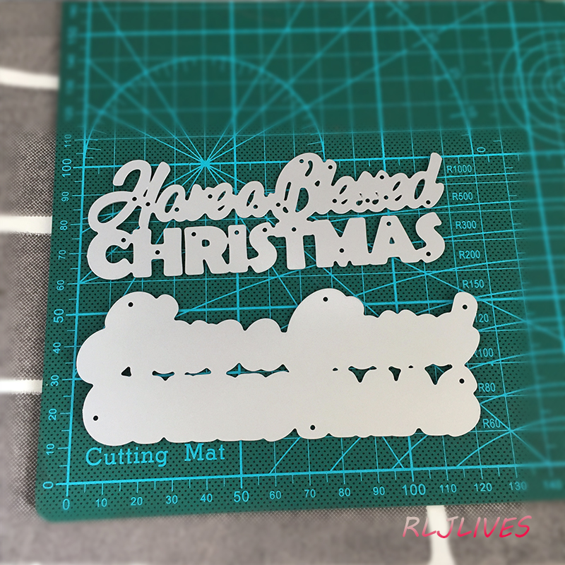 Cutting Dies Christmas And Bless Letter Cutting Dies For Card Making Embossing Stencil Die Diy Scrapbooking Photo Templates For Album Cutting Dies