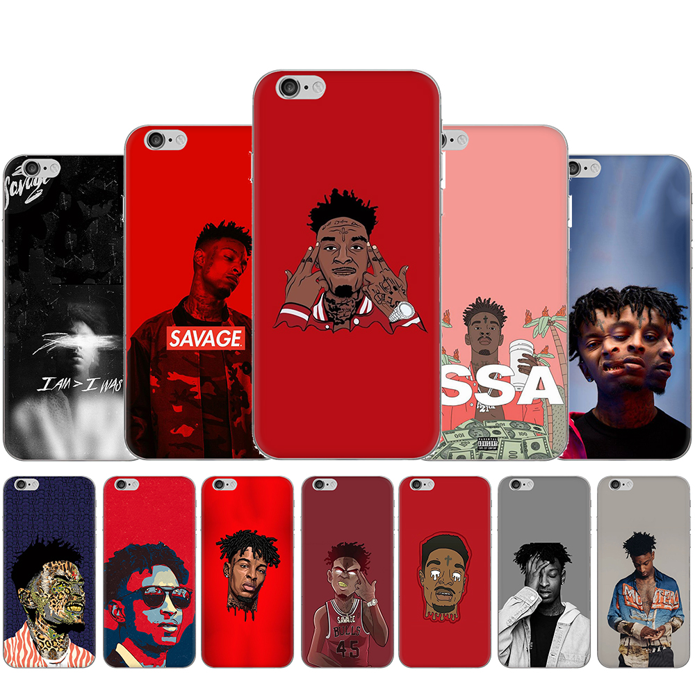 Rapper <font><b>21</b></font> <font><b>Savage</b></font> Hard Plastic Phone Case for iphone 5 5S 5C SE 2020 6 6S Plus 7 8 Plus X XR XS 11 Pro MAX image