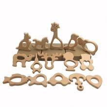 BPA FREE Beech Wood Teether Cartoon Wooden Animal Baby Teether Toy Safe Newborn