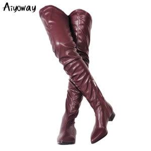 Женские ботфорты на молнии, повседневные Черные сапоги из искусственной кожи, со складками, большие размеры 34-47, Aiyoway