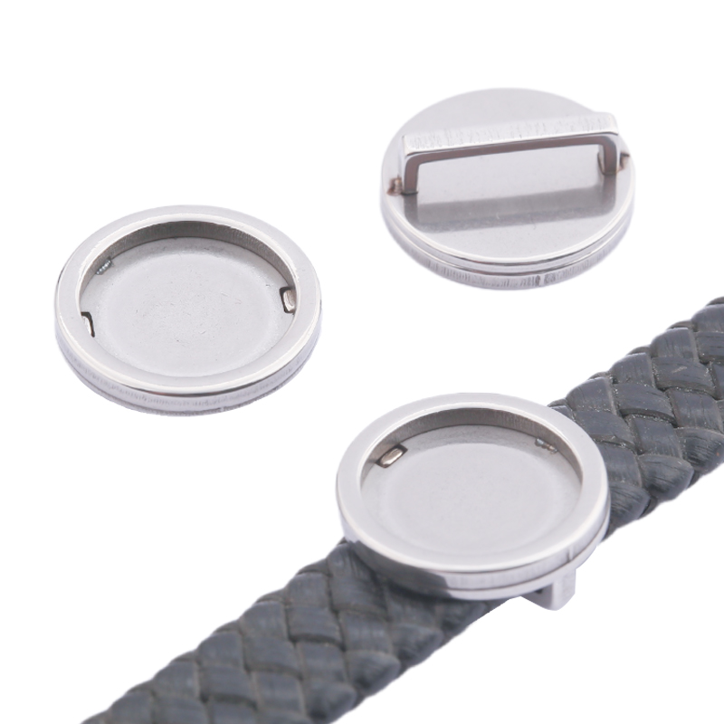 10pcs Stainless Steel Flat Leather 12mm Round Slider Cabochon Base Bezel Trays Setting Bracelet Spacers Diy Jewelry Finding