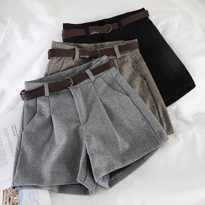 Autumn Shorts Women Vintage Gray Check High Waist Shorts Double Pocket Straight Tweed Short Pants Bootcuts