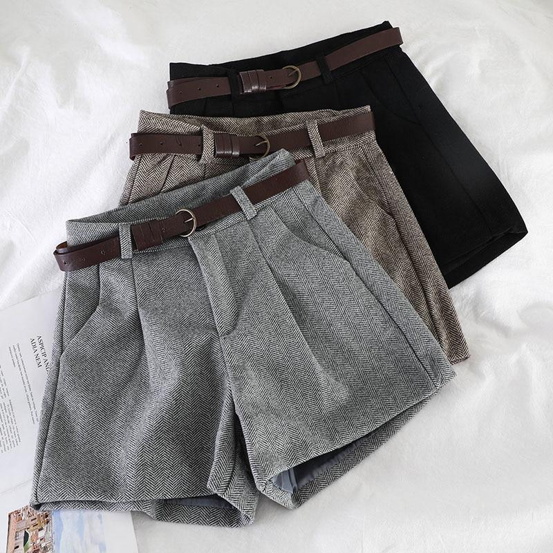 Autumn Shorts Women Vintage Gray Check High Waist Shorts Double Pocket Straight Tweed Short Pants Bootcuts