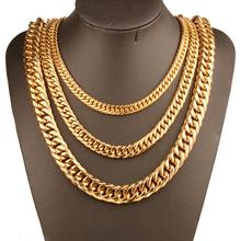 9mm/11mm/13mm/16mm/19mm/21mm Men Chain Gold Color Stainless Steel Cuban Necklace for Curb Link Hip Hop Jewelry