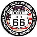 Американский виниловый Круглый US Route 66 знак w/все 8 States стикер rv Ride дорога путешествия исторический