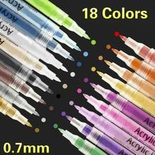 Caneta marcadora de tinta acrílica, 18 cores/conjunto, 0.7mm, para estudantes e pinturas, entusiast, material escolar, tinta de água multi cores