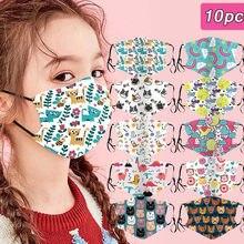 Masque facial respirant pour enfants, protection buccale en coton pour l'extérieur, anti-poussière, réutilisable, lavable, 10 pièces