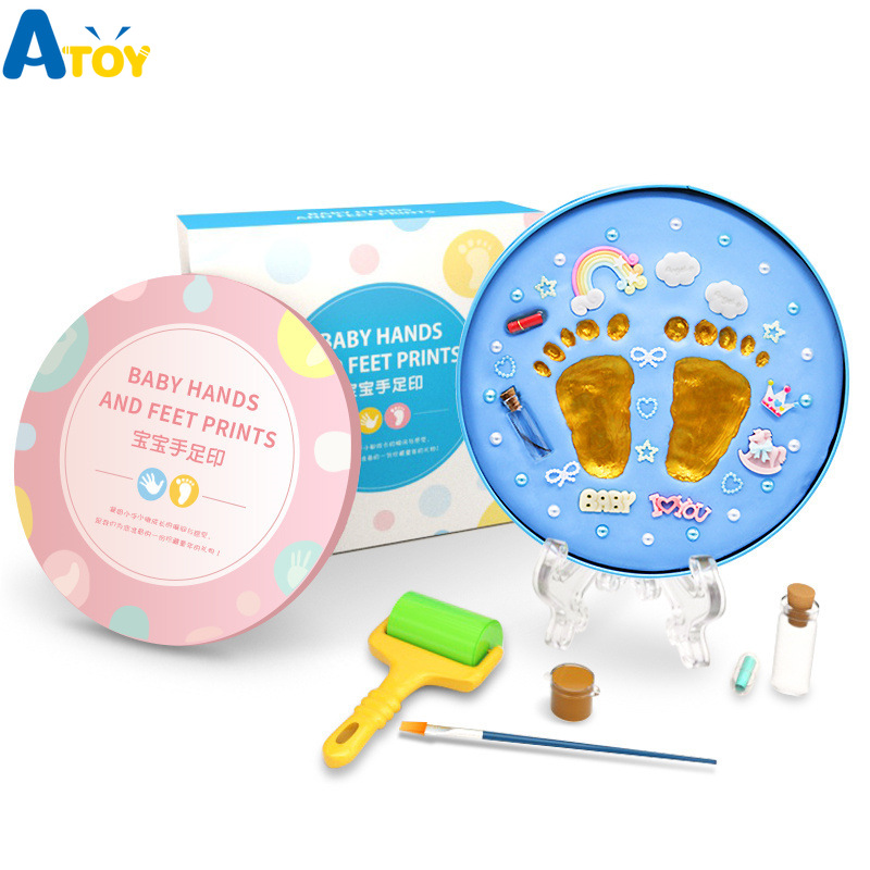 Baby Souvenirs Hands Footprint Maker Inkpad DIY Toy  Children's Birthday Baby Gift Box Newborn Gifts Kit