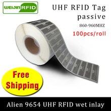 Uhf rfid 태그 epc 6c 스티커 외계인 9654 젖은 속지 915mhz868mhz860-960mhz higgs3 100pcs 무료 배송 접착 수동 라벨