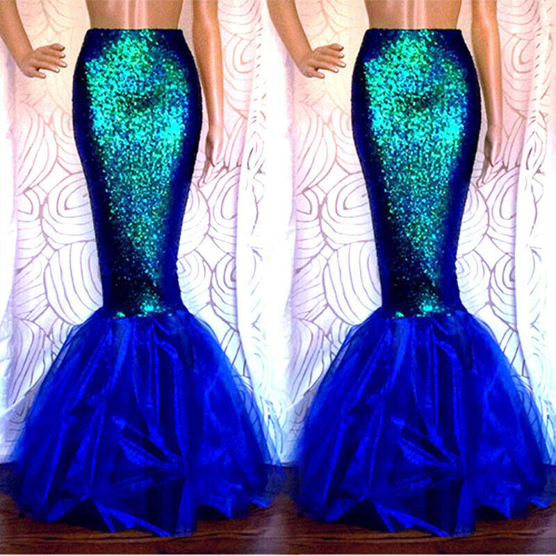 2020 New Sexy Green Rose Red Mermaid Adult Princess Womens Halloween Cosplay Costume Fancy Club Party Sequins Long Tail Skirt
