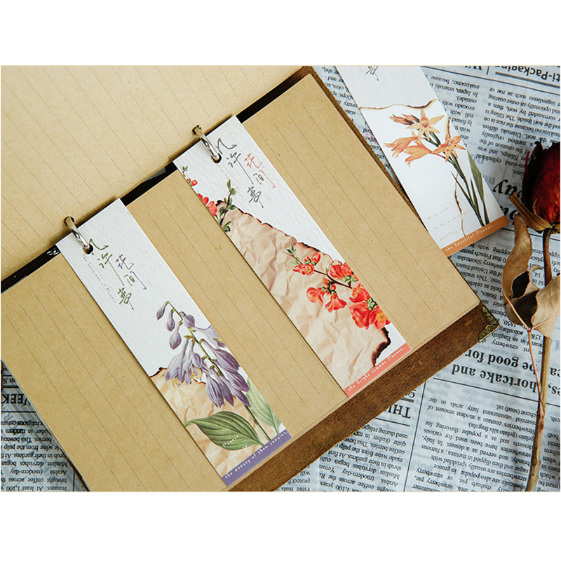 Office & School Supp. ... Calendars, Bookmark & Cards ... 32247370388 ... 4 ... 30Pcs/pack Cute Flower Vintage Plant Paper for Book Reading Maker Page Paper Bookmarks ...